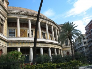 Facade of the Teatro Politeama in Palermo, Sicily